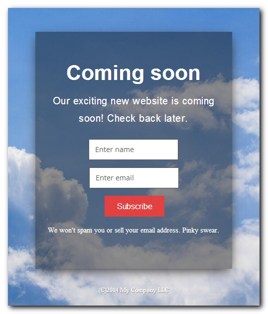 Coming Soon Example Page