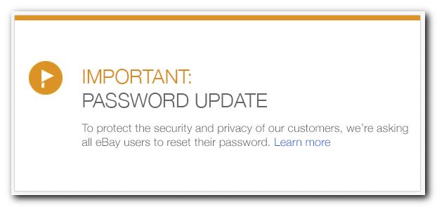 Ebay Change Your Password note