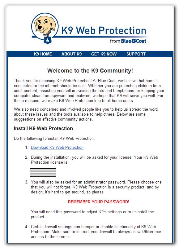 K9 license email