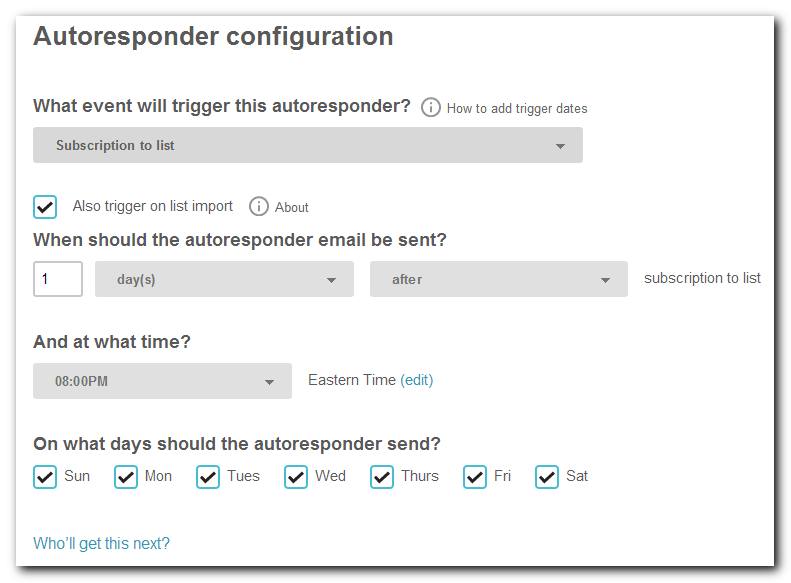 Mailchimp Autoresponder Configuration