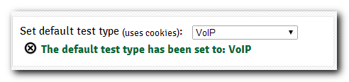 Choose VoIP as default test type