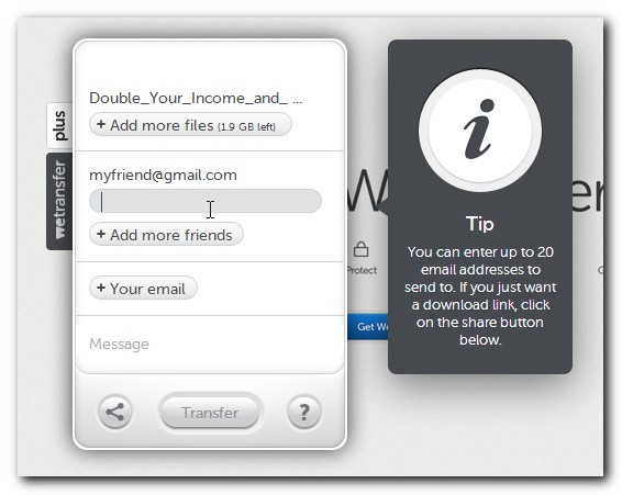 WeTransfer add friends' emails
