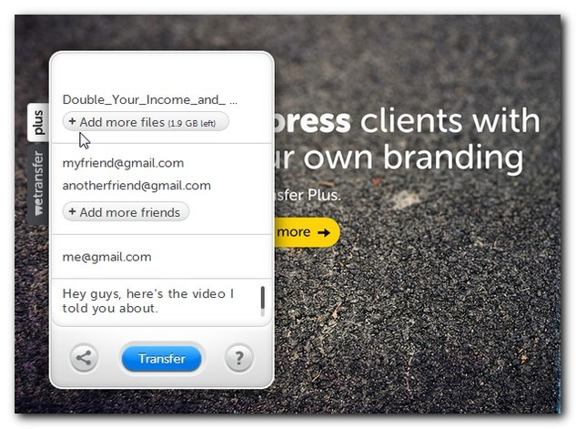 WeTransfer add message